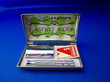 FEATHER  Vintage 3 Piece Razor Early 1960's Made In Japan UNUSED COND. NEAR MINT