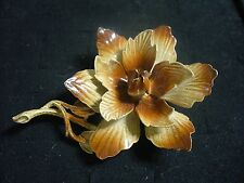 Vintage Hedy Brown & Tan Enameled Goldtone Metal Flower Blossom Brooch Pin