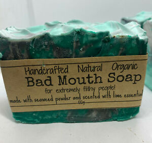 3 x  Natural / Bad mouth soap / for filthy people / with added seaweed pow