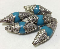 Beads Tibetan Turquoise Resin Silver Beads 60mm