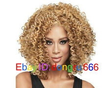 ladies Fashion wig Charm Women's short Mix Blonde Curly Natural Hair Full wigs