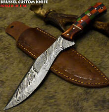 Brussel Hand Forged Damascus Steel Hard Wood Art Full Tang Hunting Knife