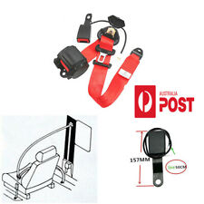 3 Point Retractable Auto Car Safety Seat Belt Lap w/Warning Cable Adjustable Red