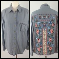 M&S Collection Size 14 Blue Chambray Shirt Blouse Embroidered Back Long Sleeve