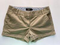 J.CREW Khaki Camel Chino Shorts SZ 4 button back pocket