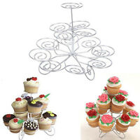 3 Tier Metal Cupcake Stand Holder Tower Wedding Party Dessert Carrier Display MW