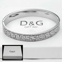 "NEW DG Gift Women's Stainless Steel 7"" Silver Eternity CZ Band Bracelet + Box"