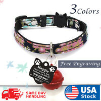 Personalized Cat Adjustable Collar Name for Pet Kitten with Engraved ID Tag