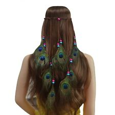 Boho Indian Peacock Feather Hairdress Blue Rose BALL Weave BAND Headpieces Wed