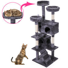 """60"""" Pet Cat Tree Play House Tower Condo Bed Scratch Post Toy Gray"""