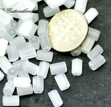 Tube Beads, White Satin, 6X4mm, Faceted Czech Bead, Accent Beads, 50 Pieces, 068