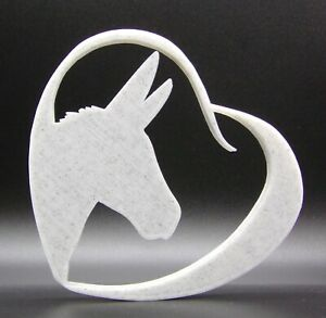 Donkey in Heart Shape Home Ornament 15x15x1.5cm - Various Colours