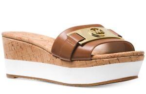New Michael Kors Warren Platform luggage Open Toe MK Logo Sandal leather cork