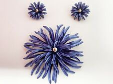 Vintage Blue Enamel Starburst Flower Brooch Clip on Earring Demi Parure Pat Pend