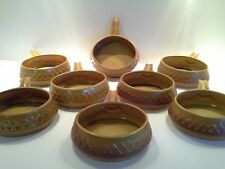 "Vintage Diana ""Nefertiti"" Stoneware Small Bowls with Handles X8"