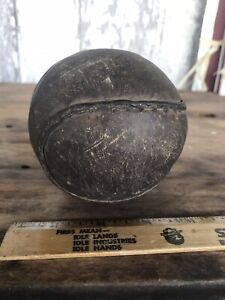 """Antique Leather Softball 4"""" Inch Well Used Hand Stitched"""