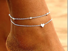 Double Chain Ankle Bracelet Foot Chain Fashion Love Heart Charm Stainless Steel