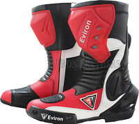 Waterproof Motorcycle Motorbike Leather Boots - Red & White