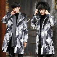 Mens Winter Hooded Fur collar Camouflage Duck Down Coat Jacket Thick Warm Parka