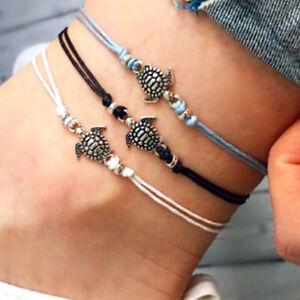 Ankle Bracelet Turtle Beaded Bohemian Anklet Foot Beach Jewelry Aqua Cord Lace