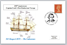 250th anniversary first captain cook endeavour voyage ships postal card