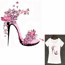 Fad Flower High Heels Patches 21.7*25cm Iron On Transfers For Clothing Stickers