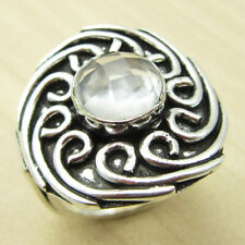 Real CRYSTAL GIRLS' Ring Size US 5.25 ! Silver Plated Jewelry WHOLESALE PRICE
