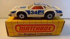 Matchbox #34 White w/ blue trim Chevy Pro Stocker #34 Lightning - w/ yellow box