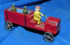 1920S Vtg Erzgebirge Folk Art German Miniature Wood Fire Truck, Xmas Putz Figure