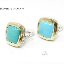 NYJEWEL David Yurman Sterling Silver 18K Turquoise Earrings