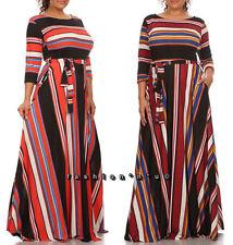 Women's Plus Black Stripe Maxi Dress Side Pocket Full Sweep Long Skirt