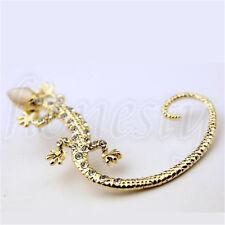 Unisex Vintage Cool Rock Punk Gothic Snake Dragon Ear Cuff Stud Earrings Jewelry B252 Gecko - Gold