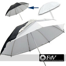 110cm Photo Umbrella -- diffusing white + SILVER / BLACK reflecting SHELL
