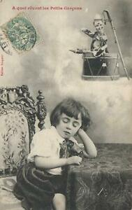 EARLY 1900's VINTAGE FRENCH SLEEPING THINKING BOY & CLOWN DOLL POSTCARD - USED