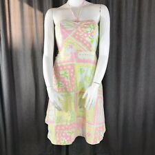Lilly Pulitzer Halter Dress 10 Boned Bodice Pastel Patchwork Floral Pinup Retro