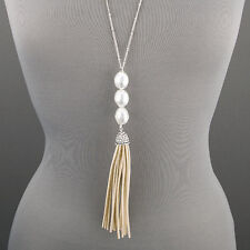 Long Simple Dainty Silver Chain Pearl Soft Tassel Pendant Statement Necklace