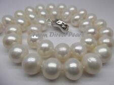 "16"" Inch Genuine Huge 10-11mm White Pearl Strand Necklace Cultured Freshwater"
