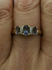 Natural Violet purple Tanzanite and Diamond Trilogy ring solid 9ct yellow gold