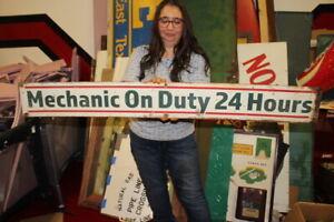 "Large Vintage Mechanic On Duty 24 Hours Gas Station Repair Garage 48"" Metal Sign"