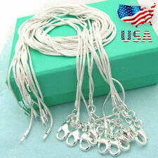 """Lots 10pcs 925 Sterling Silver 1mm Snake Chains 16-30"""" Necklace Q Xmas Wholesale"""