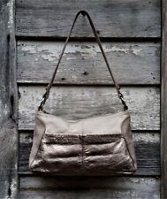 THE SAK Silver Metallic & Gray/Beige PEBBLED Leather Hobo Shoulder Bag Handbag S