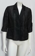 CHICO'S Black Semi Sheer Linen Rayon ¾ Sleeves Jacket size 0 6 8 Machine wash