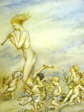 Arthur Rackman NAKED PIED PIPER w BABIES INFLANTS 1918 Antique Art Print Matted