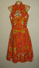 VINTAGE 1960s 70s GEOFFREY BEENE COLORFUL MOD ETHNIC FLOWER PRINT DRESS S
