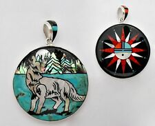 GLORIOUS HANDCRAFTED HOWLING COYOTE INLAY STERLING SILVER REVERSIBLE PENDANT
