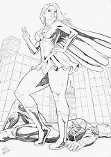 SUPER GIRL BY TIAGO FERNANDES-ART PINUP Drawing Original COMIC
