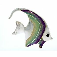 More details for sterling silver & enamel large angel fish by saturno aquarium figurine