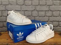 ADIDAS MENS UK 7 EUR 40 2/3 WHITE STAN SMITH LEATHER TRAINERS BLACK HEEL