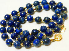 CHINESE VINTAGE 14k gold beads and clasp NATURAL BLUE LAPIS 8mm BEAD NECKLACE
