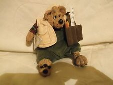 """Russ Berrie 5"""" sitting Kelly Critter Contractor Bear - polyresin & plush"""